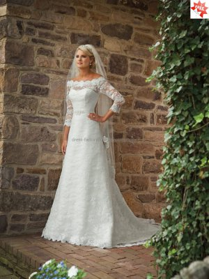 Discount  Alencon Lace A-line Bridal Gown Custom Off Shoulder Ivory White Lace Wedding Dress
