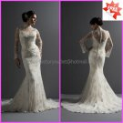 Good Lace Mermaid Bridal Gown Custom Ivory White Lace Wedding Dress High Neck Long Sleeves