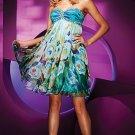 Straples Green Blue 4 Imprinted  Chiffon Bridal Knee Length Evening Dress Short  Prom Dress