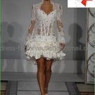 A-line Mini White Satin Lace Short Bridal Gown Knee Length Prom Dress Long Sleeves Wedding Dress