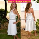 A-line Mini White Chiffon Taffeta Short Bridal Evening Dress Halter Tea Length Wedding Dress