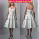 A-line Mini White Taffeta Short Bridal Evening Dress 2 Straps Tea Length Beach Wedding Dress