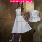 A-line Mini White Taffeta Short Bridal Evening Dress 2 Straps Ankle Length Beach Wedding Dress