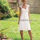 A-line Mini White Chiffon Short Bridal Evening Dressa Cap Sleeves Knee Length Beach Wedding Dress