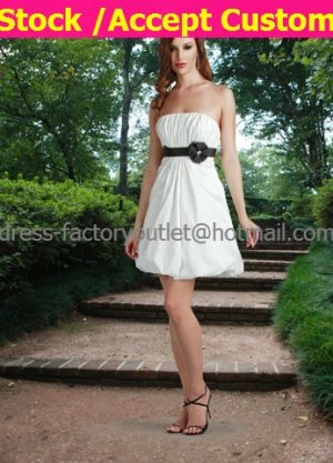 A-line White Taffeta Black Sash Short Evening Dress Bridesmaid Dress Strapless Beach Wedding Dress