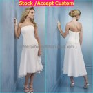 A-line White Chiffon Beaded Short Evening Dress Bridesmaid Dress Strapless Beach Wedding Dress
