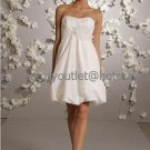 A-line White Pleated Taffeta Short Evening Dress Bridesmaid Dress Strapless Beach Wedding Dress