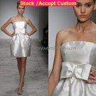 A-line White Pleated SATIN Short Evening Dress Bridesmaid Dress Strapless Beach Wedding Dress