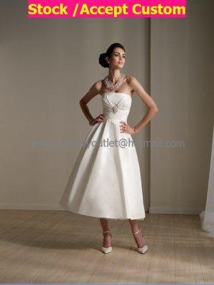 Wholesale A-line  Short White Evening Dress Bridesmaid Dress Strapless Ankle Length Wedding Dress