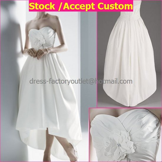 Wholesale A-line Short White Evening Dress Bridesmaid Dress Strapless Tea Length Wedding Dress