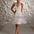 A-line Short Ivory Organza Evening Dress Bridesmaid Dress Sleevelss V-neck Tea Length Wedding Dress