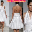 A-line Short White Taffeta Evening Dress Bridesmaid Dress Sleevelss Halter Tea Length Wedding Dress
