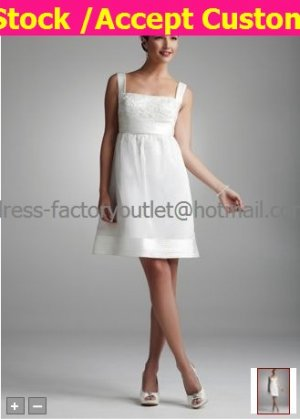 Short White Satin Evening Dress Bridesmaid Dress Square Neck Knee Length Wedding Dress