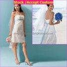 White Littler Bridal Gown Knee Length Spaghetti Straps Blue Sash Lace Wedding Dress