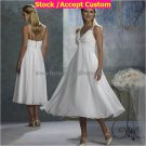 A-line White Chiffon Plus Size Bridal Evening Dress Sleeveless V-neck Calf Length Wedding Dress