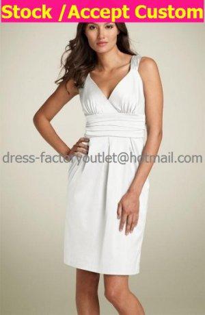 A-line Short White Satin Evening Dress Bridesmaid Dress Sleevelss Halter Knee Length Wedding Dress