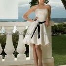 A-line Short White Satin Black Sash Evening Dress Bridesmaid Dress Strapless Beach Wedding Dress
