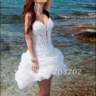 Layered Dress White Organza Lace Short Evening Dress Bridesmaid Dress Strapless Mini Wedding Dress