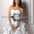 Layered Dress White Satin Black Sash Short Evening Dress Bridesmaid Dress Strapless Wedding Dress