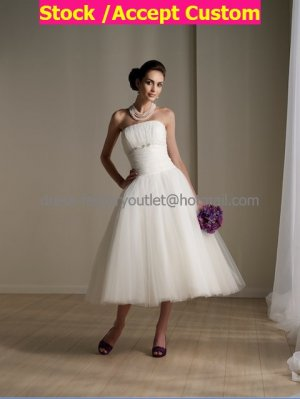 Layered Dress White Tulle Short Evening Dress Bridesmaid Dress Strapless Calf Length Wedding Dress