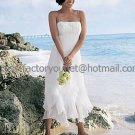 A-line White Chiffon Short Evening Dress Bridal Dress Thin Straps Beach Wedding Dress