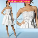 A-line White Taffeta Embroidery Short Evening Dress Bridal Dress Strapless Beach Wedding Dress S276