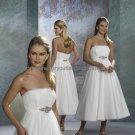 White Chiffon Satin Short Evening Dress Bridal Dress Strapless Calf Length Wedding Dress