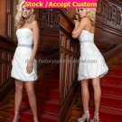 A-line White Taffeta Jeweled Sash Short Evening Dress Bridal Dress Strapless Beach Wedding Dress S47