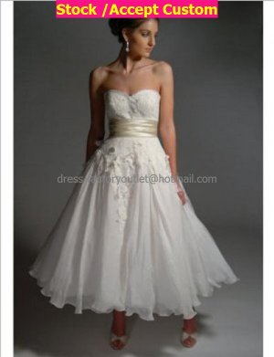 White Chiffon Champagne Sash Short Evening Dress Bridal Dress Strapless Beach Wedding Dress