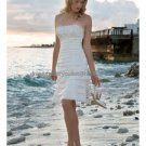 Sheath White Satin Lace Top Short Evening Dress Bridal Dress Strapless Beach Wedding Dress