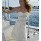 A-line White Satin Lace Applique Short Evening Dress Bridal Dress Thin Straps Beach Wedding Dress