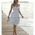 A-line White Lace EdgeTaffeta Evening Dress Bridal Dress Strapless Beach Wedding Dress