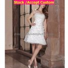 A-line White Flower Lace Short Evening Dress Bridal Dress Strapless Beach Wedding Dress