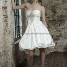 A-line White Taffeta Beaded Short Evening Dress Bridal Dress Strapless Beach Wedding Dress