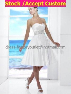 A-line White Sash Beaded Sash Short Evening Dress Bridal Dress Strapless Beach Wedding Dress
