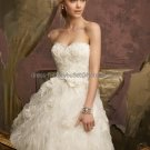 A-line White Tassel Organza Lace Bridal Dress Strapless Knee Length Beach Wedding Dress