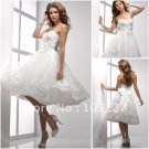 A-line White Organza Lace Short Bridal Dress Beaded Strapless Knee Length Beach Wedding Dress