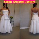 A-line White Organza Alencone Lace Bridal Dress Ankle Length Beach Wedding Dress