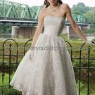 A-line Pleated White Organza Lace Bridal Dress Strapless Calf Length Beach Wedding Dress