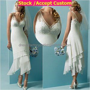A-line White Chiffon Embroidery Short Bridal Dress V-neck Ankle Length Beach Wedding Dres S44