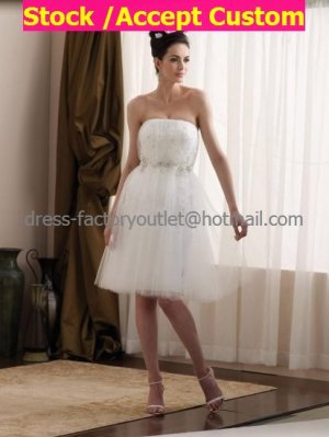 A-line White Ivory Lace Tulle Bridal Dress Strapless Empire Knee Length Beach Wedding Dress W511