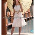 A-line Champagne Sash Lace Bridal Dress Strapless Empire Knee Length Beach Wedding Dress W512