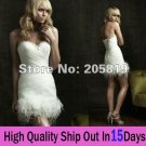White Organza Feather Flowers Short Bridal Dress Strapless Thigh Length Beach Wedding Dress