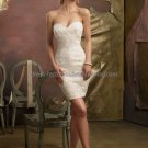 White Ivory Short Lace Bridal Dress Strapless Beaded Knee Length Beach Wedding Dress