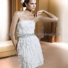 White Ivory Cascading Chiffon Bridal Dress Strapless Beaded Knee Length Beach Wedding Dress S96