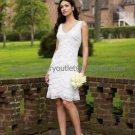 V-neck Cascading White Lace Taffeta Short Bridal Dress Knee Length Beach Wedding Dress W509