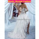 White Organza Tiered Bridal Dress Strapless Short Front Long Back Hi-low Beach Wedding Dress