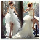 Ivory Organza Tiered Bridal Dress Strapless Short Front Long Back Hi-low Beach Wedding Dress