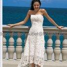White IvoryLace Short Bridal Dress Strapless Short Front Long Back Hi-low Beach Wedding Dress