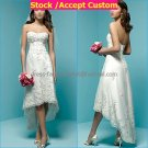 Ivory Lace Applique Short Bridal Dress Strapless High Front Low Back Hi-low Beach Wedding Dress